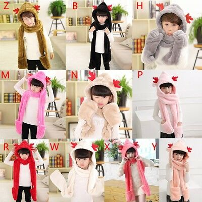 Christmas Baby Kids Toddler Winter Warm Hooded Warmer Scarf Shawls Gloves Xmas