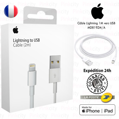 Câble Original pour Apple iPhone 5 6S 7 8 X XS XR iPad 2M Chargeur Lightning USB