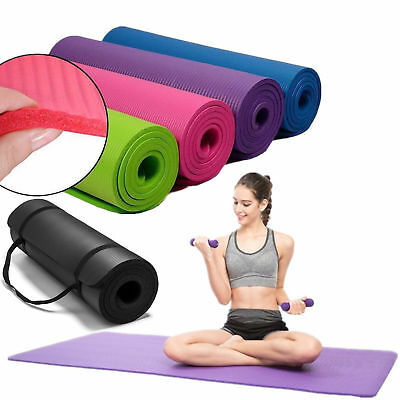 Thick Foam Exercise Yoga Mat Gym Workout Fitness Pilates Pad Carrying Strap 10mm