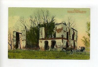 Chalmette New Orleans LA postcard, Ruins General Packenhams' House, person