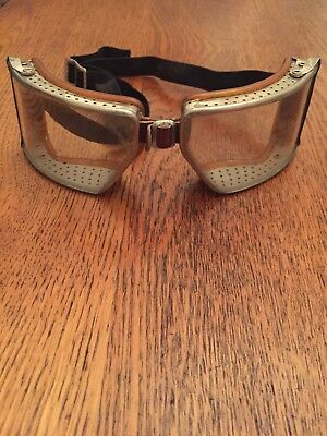 Antique WWII Clear Cesco Aviator/Pilot Goggles Vintage Retro Steampunk