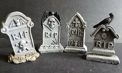 "Miniature Garden / Village 2"" SET OF 4 TOMBSTONES  Hallowen by TTI J8152"