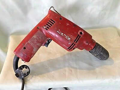 Vintage Red Makita M802  13mm Hammer Drill Working