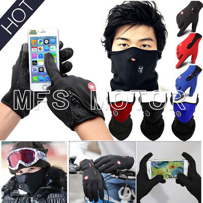 Winter Thermal Touch Screen Gloves Cycling Ski Motorcycle Neck Warm Face Mask