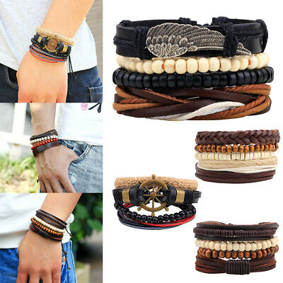 Men Women 4pcs Black Leather Tribal Beaded Cuff Wristband Bangle Bracelet Set