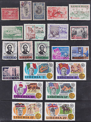 LIBERIA - EARLY STAMPS plus SETS - GOOD LOT OF 21 STAMPS - MINT and USED