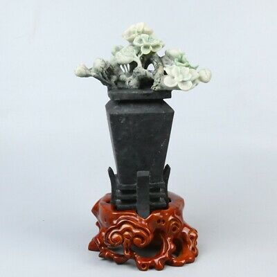 Chinese Exquisite Hand-carved Flowers carving Dushan jade Statue