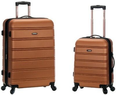 ROCKLAND Luggage Set Expandable Hard-Side with Spinner Wheels, Brown (2-Piece)