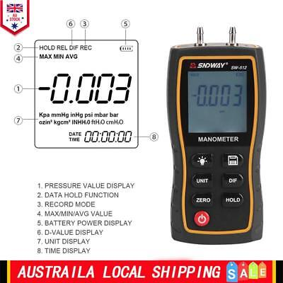 SW-520 11 Unit Portable Digital LCD Differential Pressure Gauge Meter Manometer