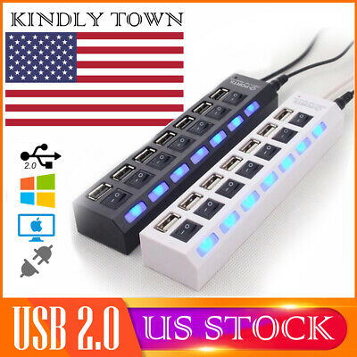 7-Port USB 2.0 Multi Charger Hub+High Speed Adapter ON/OFF Switch Laptop/PC US