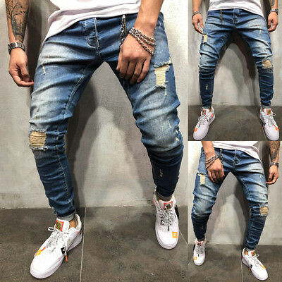 COOL Men Ripped Skinny Jeans Destroyed Frayed Slim Fit Long Denim Pants Trousers