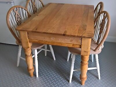 Farmhouse Antique Victorian  Kitchen Scrub Table And 4 Windsor Wheelback Chairs