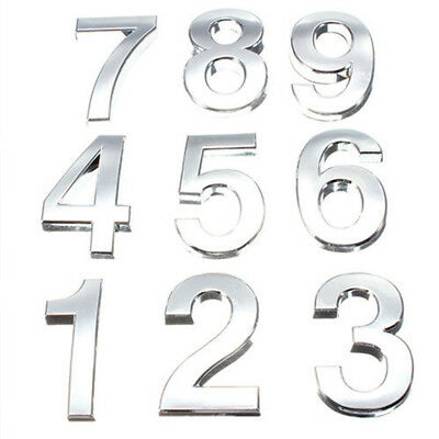 """Self Adhesive Door Numbers Chrome Signs House Apartment Number Plaque 3"""" 2"""""""