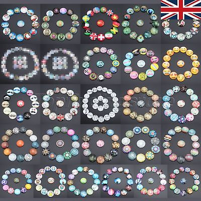 10pcs 25mm 26 Pattern Round Flat Glass Cabochon DIY Jewelry Fashionable UK STOCK