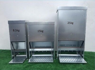 NEW GALVANISED CHICKEN POULTRY DUCK TREADLE FEEDERS 8.5/15/25Kg SPECIAL OFFER!!