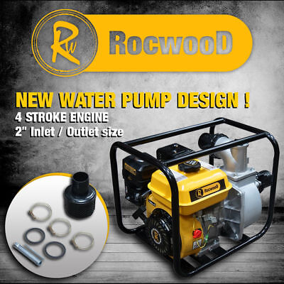 "Petrol Water Pump 2"" 5.5HP 4 Stroke Engine Rocwood 650 Litres Per Min"