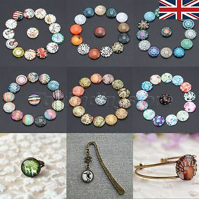 10/50pcs 12mm 26 Patterns Round Glass Cabochon DIY Jewelry Fashionable UK STOCK