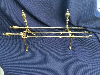 Vintage Solid brass Coal Log Coal Fire. Dogs  + tools Tongs and Poker