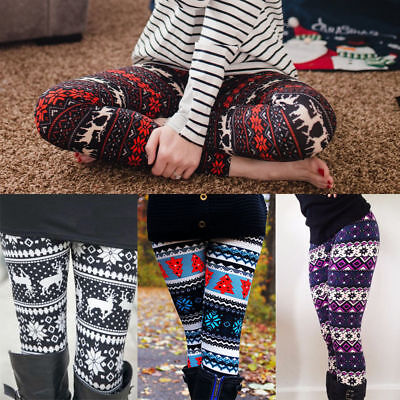 Women Xmas Snowflake Reindeer Knitted Leggings Skinny Pants Trousers Size L 2XL