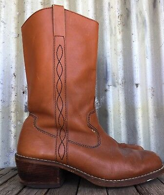 VINTAGE Whisky Leather FRYE STYLE COWBOY BOOTS Poland 7.5
