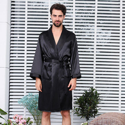 New Mens Soft Silk Satin Kimono Dressing Gown Sleepwear Bathrobe Shorts Contain