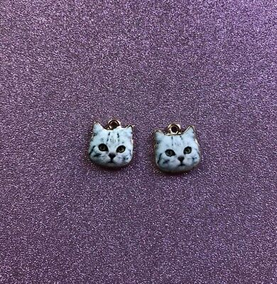 2  Cute Alloy Cat Face Charms Grey in colour