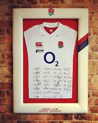 Signed Framed England Rugby 2017/18 Full Squad T Shirt with Cert of Authenticity