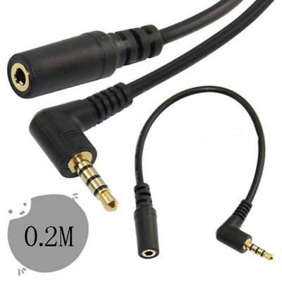 90° Degree Right Angled 3.5mm 4 Pole Male to Female Cable Steteo Audio Adapter