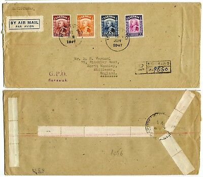 SARAWAK AIRMAIL REGISTERED via SINGAPORE to GB 6c 12c 15c + $2 BMA 1947