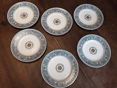 "6 assiettes WEDGWOOD  "" Florentine "" -Turquoises -20,5 cm - TBE"
