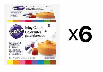 Wilton Set Of 8 Icing Colors Cake Decorating Fondant And Frosting .5oz (6-Pack)