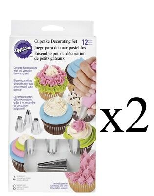Wilton 12 Piece Cupcake Decorating Set - 8 Bags and 4 Decorating Tips (2-Pack)