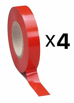 Tourna Tennis Racquet Racket Vinyl Extra Finishing Grip Tape Red Finish (4-Pack)