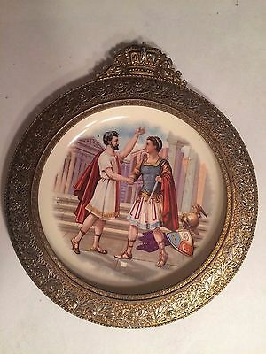 """Vintage Handmade Greek  8"""" Plate with Wrought Metal Frame and Crown Symbol"""