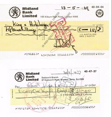 A very large MIDLAND BANK LIMITED cheque, KILBURN Branch, dated 1969.