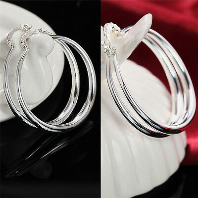 Silver Fashion Jewelry Three-dimensional Round Sterling Silver Hoop Earrings  ZN
