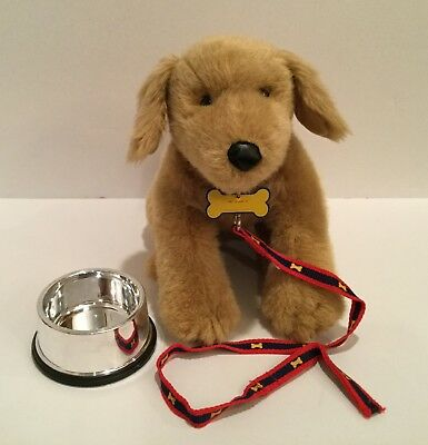 "Build A Bear Beige Golden Retriever Dog Puppy Plush 20"" Long w/ collar & leash"
