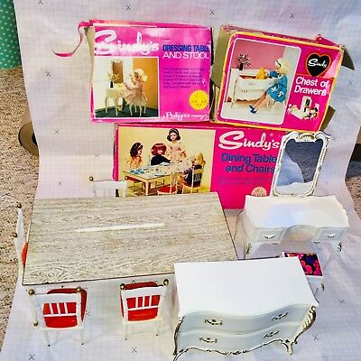 Vintage Sindy Furniture Dressing Table Chairs Chest Draws Spares Boxed Pedigree