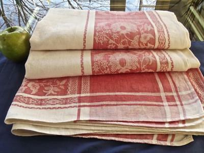 Antique Victorian German Linen 56x80 Tablecloth Boho Pink Damask Exotic Flowers