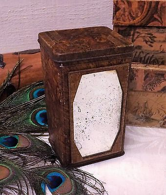 Small Antique Lyons Tea Tin Box, Faux Burled Wood Look with Mirror Vintage