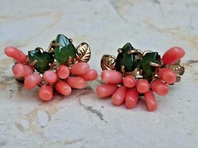Retro Vintage Gold Plated Natural Jade / Undyed Coral Rare Women Earrings