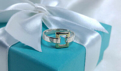 Tiffany & Co. Square Buckle Ring Open Rectangle 18k Gold 9 Sterling Silver 925
