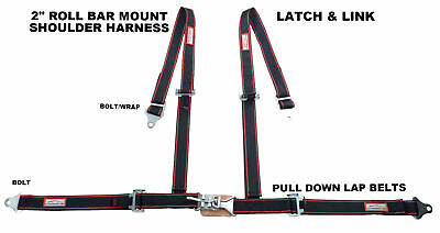 "2"" Off Road 4 Point Seat Belt Latch & Link Roll Bar Mount Black Red Pin Stripes"