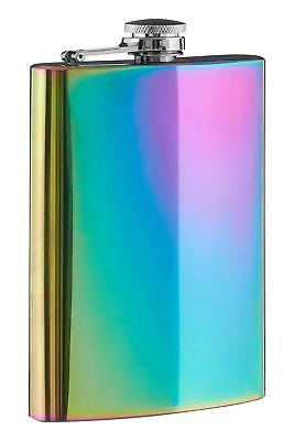 New 8 oz Rainbow Stainless Steel Hip Flask Drink Whiskey Vodka Case Pocket Gift