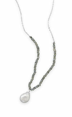 Labradorite and Baroque Cultured Freshwater Pearl Drop Necklace Sterling Silver