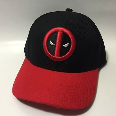 outlet store 20f54 9397b ... 50% off marvel deadpool embroidered logo black red snapback baseball  dad cap hat new f66b0