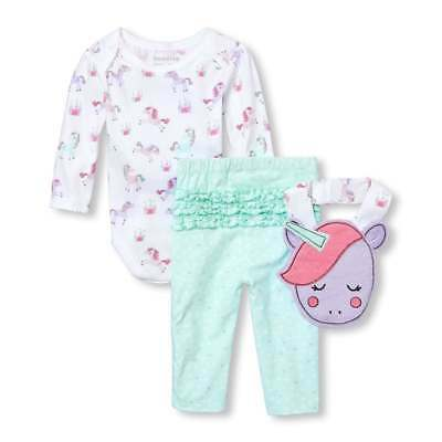 NWT The Childrens Place Unicorn Baby Girls Bodysuit Leggings Bib Outfit Set