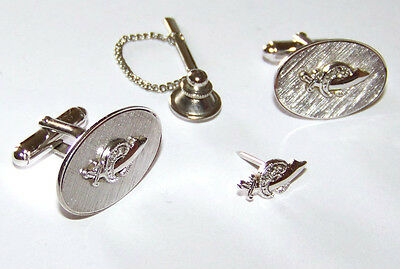 Nice Vintage Set Of Anson Sterling Silver Masonic Shriner Cufflinks And Tie Tack