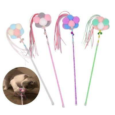 Kitten Funny Cat Pet Fun Toy Tassel Pom Ball Chasing Interactive Chaser Wand