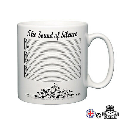 sound of silence funny novelty mug music lover musician notes tea coffee gift